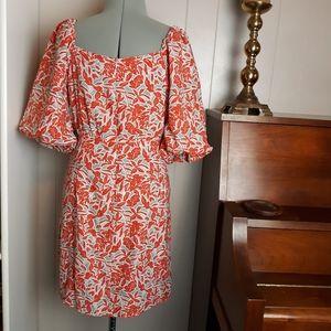 Square neck puffy sleeves botanical dress